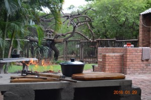 Wood braai in garden